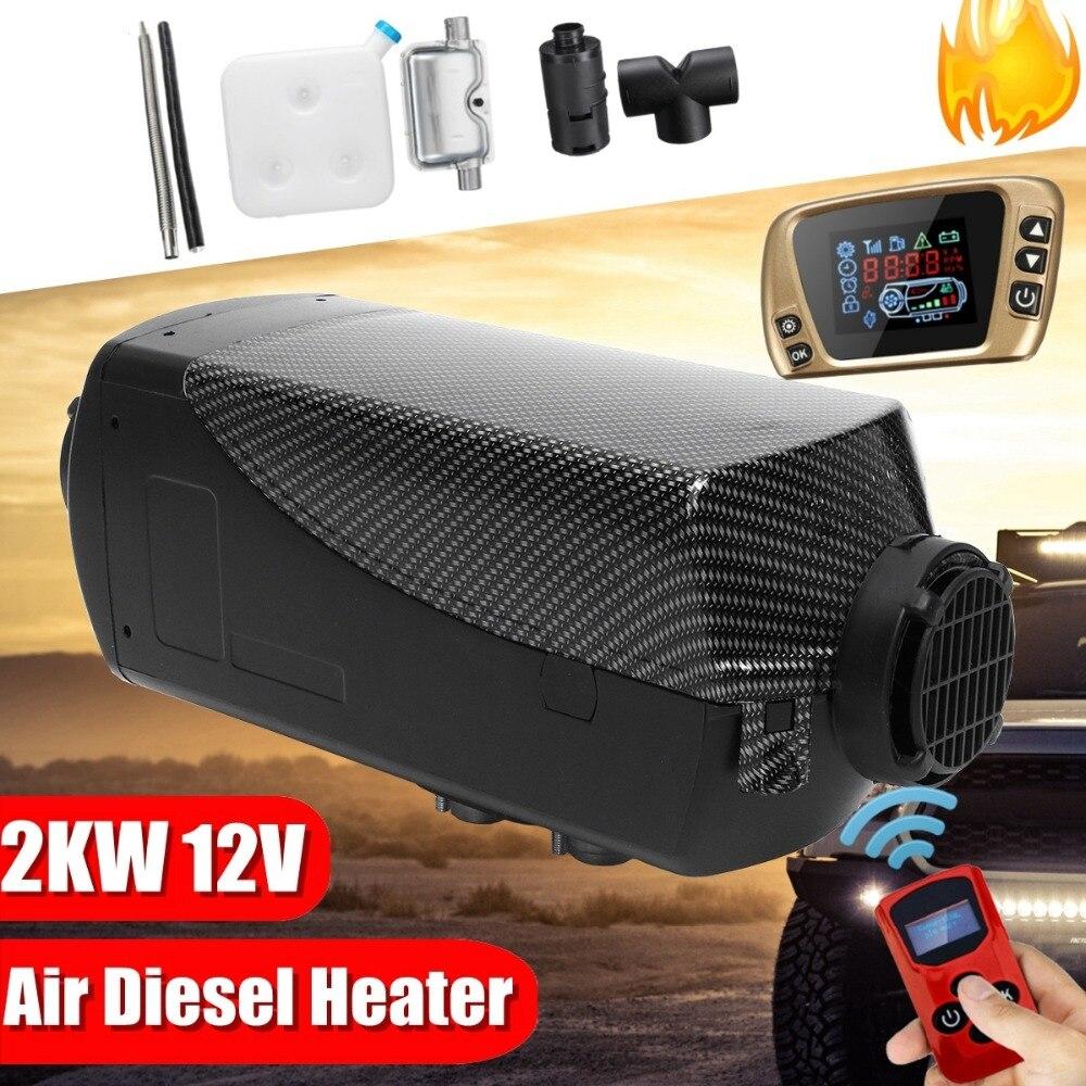 12 V 2kw Diesels Air Parking chauffage Air chauffage LCD interrupteur avec silencieux et télécommande pour camions bateaux voiture remorque chauffage