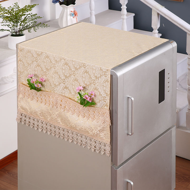 Fyjafon Refrigerator Covers Dust Cover With Storage Bag Kitchen Decor Dustproof Cover Embroidery Lace 55*145/70*170