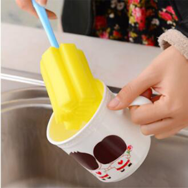 Cup Cleaning Brush Kitchen Cleaning Tool Sponge Brush For Wineglass Bottle Coffee Tea Glass Cup Bottle cup Random color