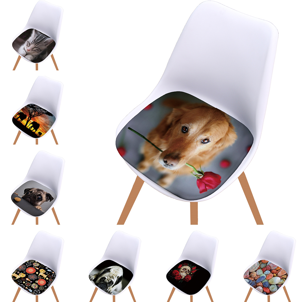 3D Animals Print Super Soft Flannel Seat Cushion Chair Cushion For Home Kitchen Decoration Cartoon Style
