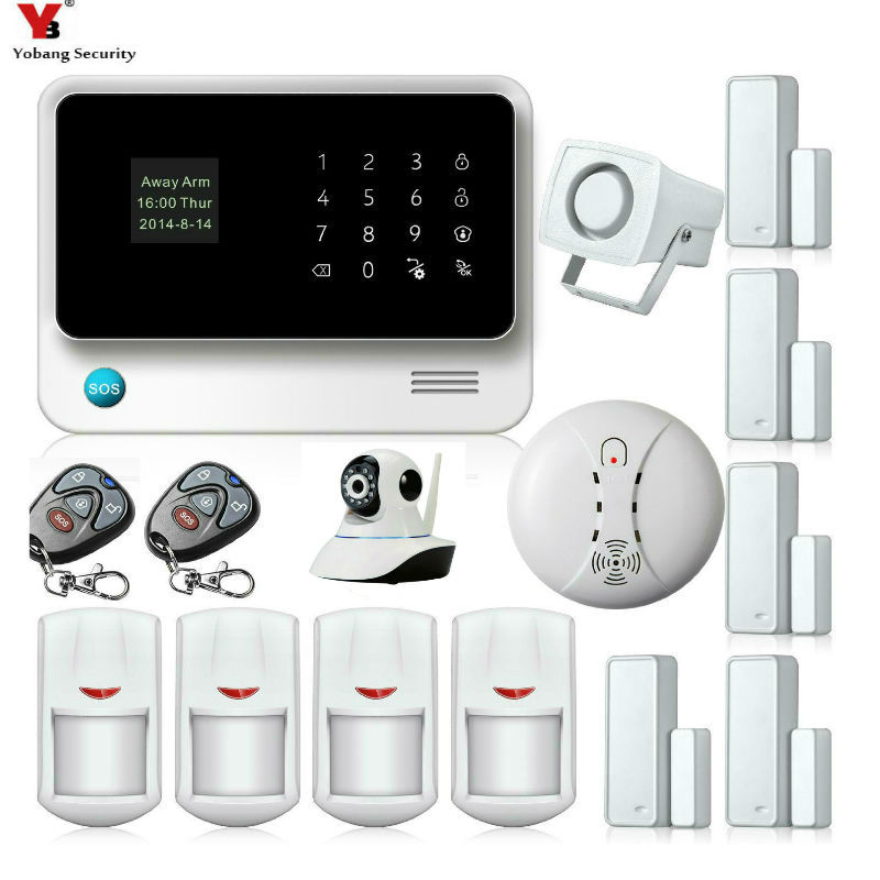 Yobang Security APP Control Voice Prompt GSM Alarm Systems Security Home Motion PIR Network Camera Smoke Fire Alarm Sensor Kits yobang security wireless wifi gsm alarm system with pir motion smoke sensor detector ip camera app control alarm mainframe kits