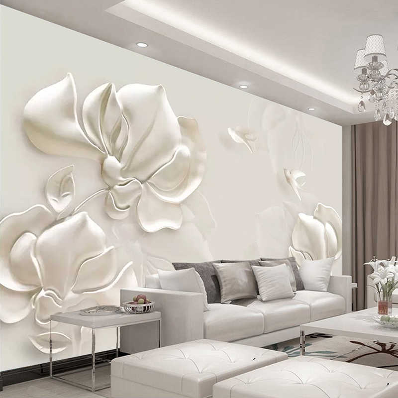 Excellent Custom Wall Mural Wallpaper 3D Plaster Relief Magnolia Flower Bird Modern Living Room Tv Background Art Wall Painting Home Decor Download Free Architecture Designs Scobabritishbridgeorg