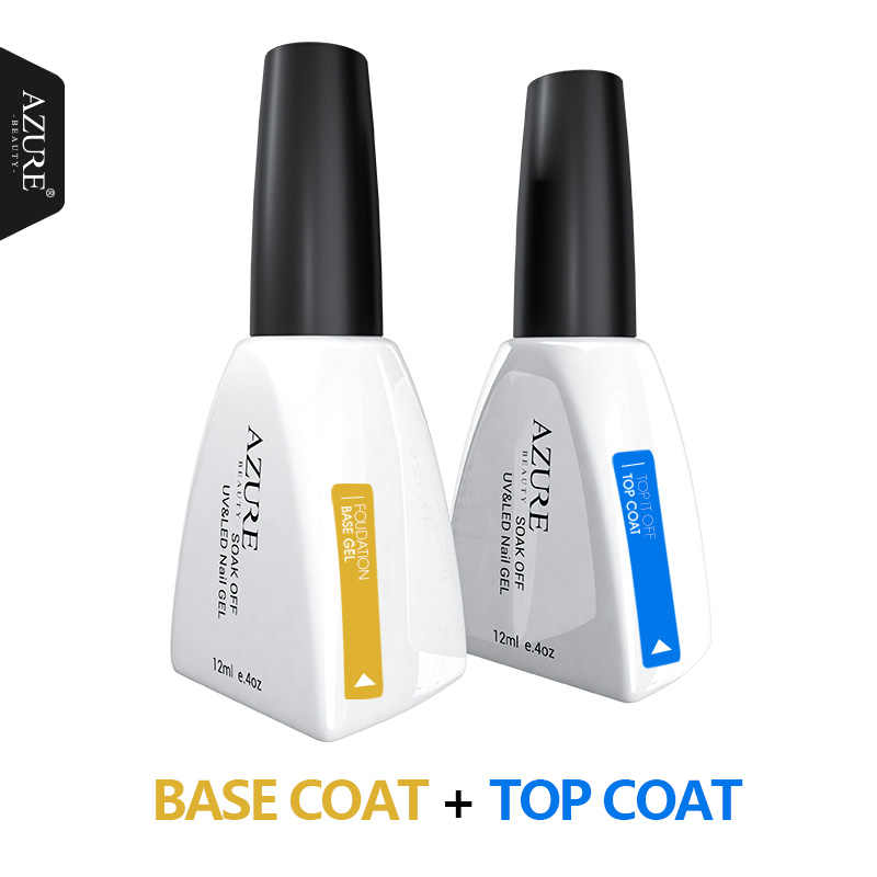 Azure Kecantikan 12Ml Gel Polish Gel Nail Polish Rendam Off Lem Kuku Base Coat + Top Coat Set Primer gel Varnish Rendam Off UV LED Gel