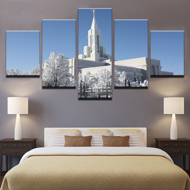 Canvas Home Decor HD Prints Poster 5 Pieces Bountiful White Utah Temple Paintings Framework Living Room Wall Art Pictures PENGDA