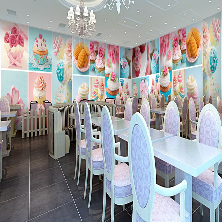 Free Shipping Sweet And Cute Cartoon Cake Wallpaper Background Dessert Bakery Cafe Kitchen Large Mural Custom Size In Wallpapers From Home Improvement On