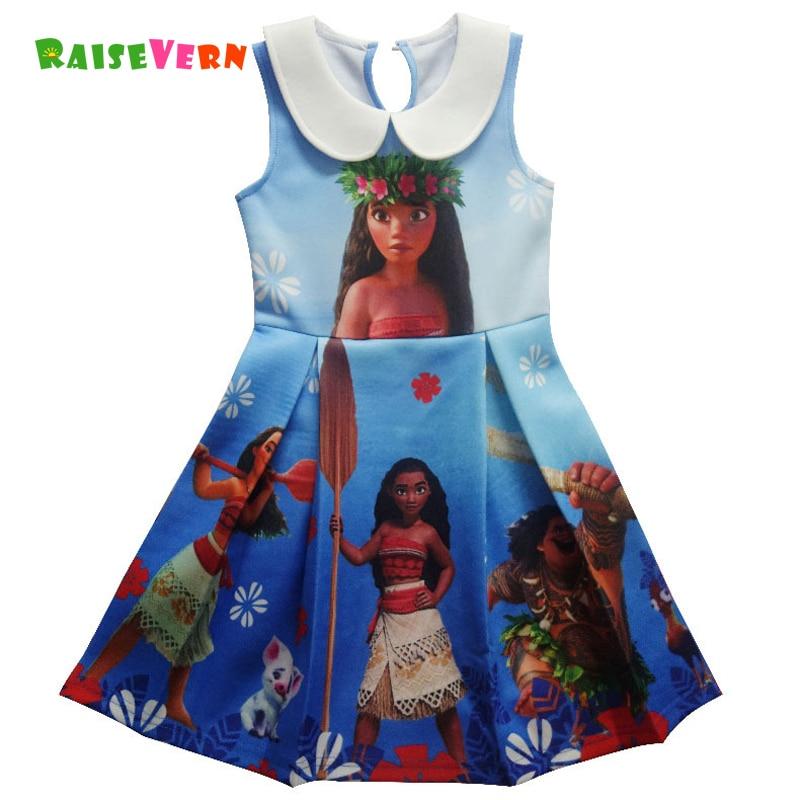 Raisevern New Moana 3D Printed Style Girl Dresses 2017 Cartoon Children Princess Dress Kids Party Turn-down Collar Clothing