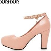 Xjrhxjr nuevo tobillo Correa rebordear Zapatos mujer toe redonda Tacones altos mujeres Bombas boda Zapatos plataforma del talón del cuadrado de la manera