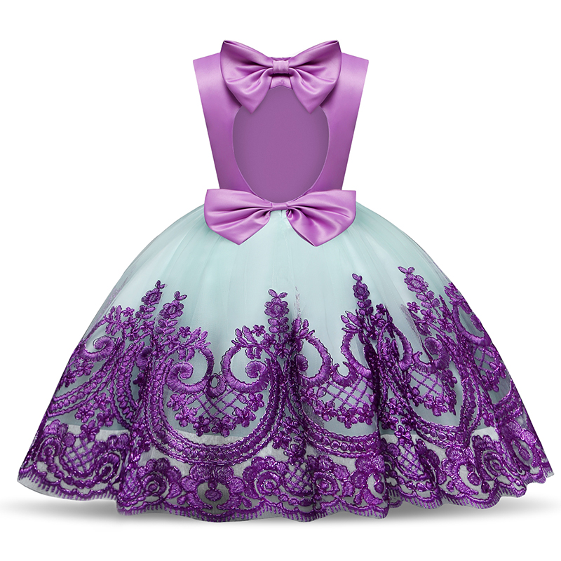 Baby Girl Lace Bow Kids Dresses for Girls Flower Wedding Christmas Dress Children Girl Party Wear Clothes 5 Years Kids Clothes super soft and comfortable girl party dress 2 16 years children wedding dress for girls brand girls wear