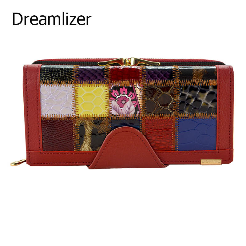 Dreamlizer Real Genuine Leather Women Wallets Brand Design 2016 Cell phone Card Holder Long Lady Patchwork Wallet Purse Clutch ladies wallets genuine leather purses women nubuck leather wallets clutch patchwork wallet card holder cell phone pocket purse