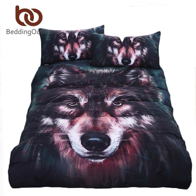 Beddingoutlet волк постельных принадлежностей живопись 3d vivid пододеяльник, наволочки twill cool кровать набор 3 шт. твин полный queen король