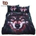 Beddingoutlet lobo pintura juego de cama 3d vivid calidad sarga funda nórdica juego de cama fresca de varios tamaños 3 unids
