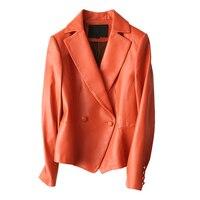 2019 Весна повседневное натуральная кожа пальто для женщин натуральной овчины куртка Женская мода Тонкий пояса из натуральной кож