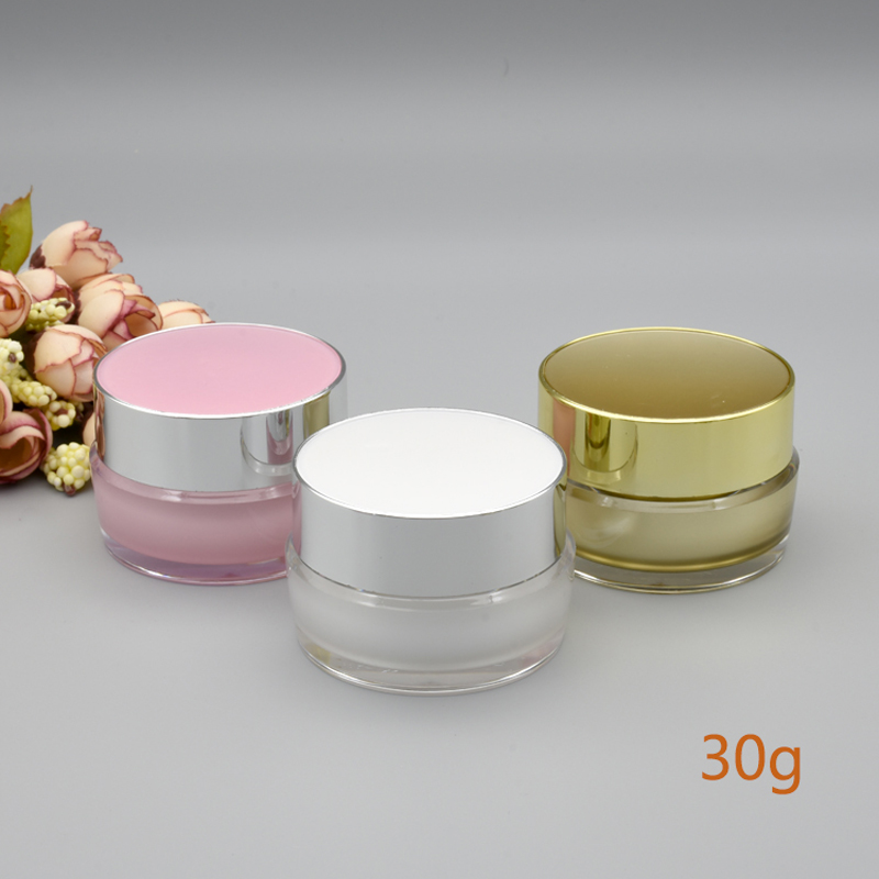 5g 10g 20g 30g White Pink Gold Empty Refillable Cream Acrylic Jar Plastic Cosmetic Packaging Bottle For Makeup Product 10pcs/lot