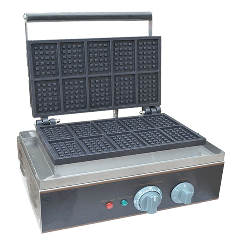 110/220V 1550W 10pcs Commercial Non-stick Waffle Maker Commercial Electric Lolly Muff Waffle Oven Bread Machine EU/AU/UK/US three groups of kebab ovens commercial electric oven machine