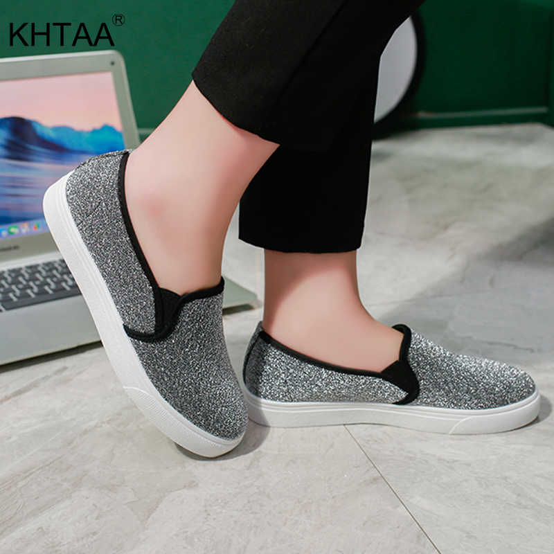 KHTAA Woman Platform Slip On Flat Shoes Glitter Elatstic Band Female Flats  Fashion Ladies Footwear Casual f49ad05ec957