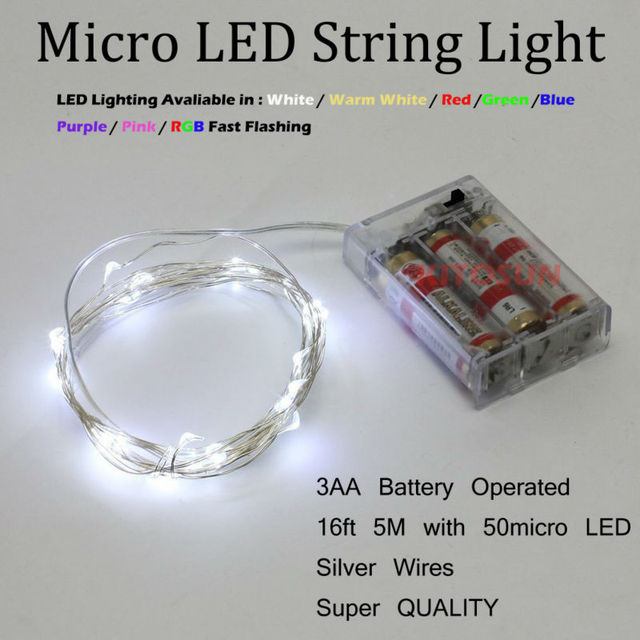 Silver wire White 5M 50 leds String Light Mini holiday lighting 16.5 ...