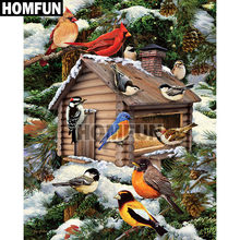 "HOMFUN Full Square/Round Drill 5D DIY Diamond Painting ""Birdhouse Bird"" 3D Embroidery Cross Stitch 5D Home Decor A00757(China)"