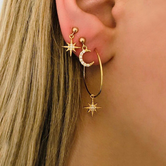 Star Moon Geometric Stud Earrings