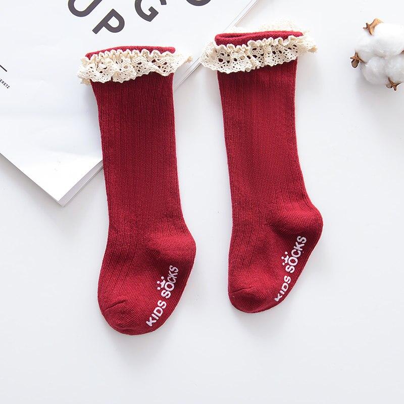 Новые детские носки гольфы с большим бантом для маленьких девочек, мягкие хлопковые кружевные детские носки kniekousen meisje, Прямая поставка#30 - Цвет: Lace red