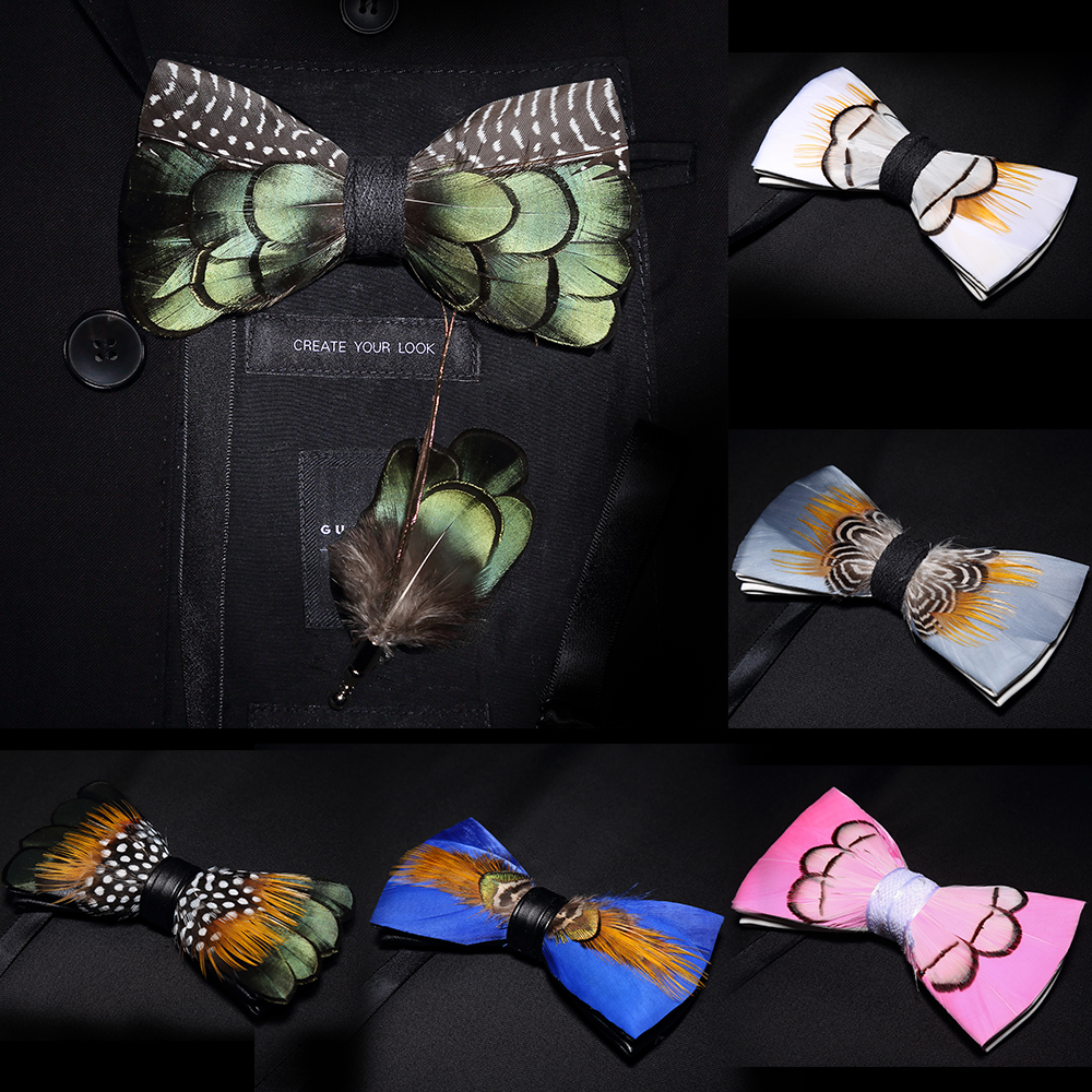JEMYGINS Original Solid Color Feather Bow Tie Brooch Set Man Wedding Gift Fashion Handmade Leather Bow Ties Pin Gift Box Set