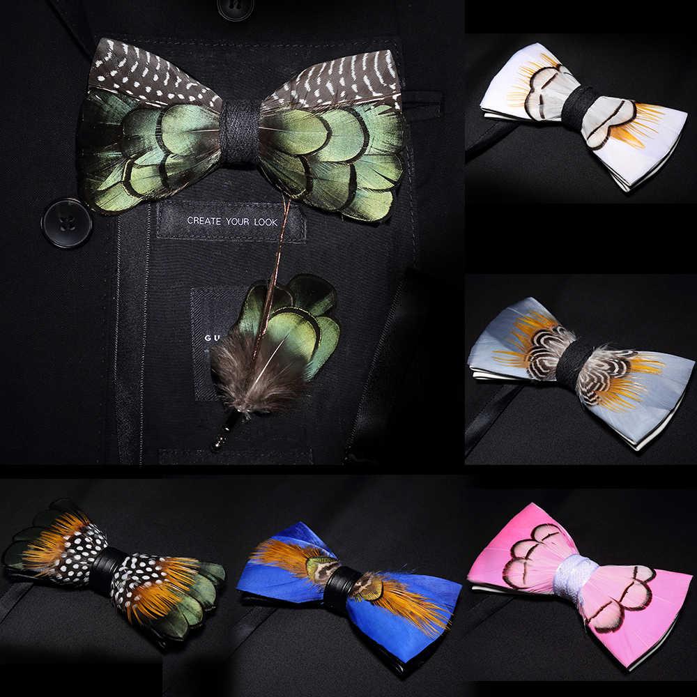 JEMYGINS originale di colore solido piuma bow tie spilla set Uomo di Moda Regalo di Nozze Fatti A Mano In Pelle Papillon Spille Contenitore di Regalo set