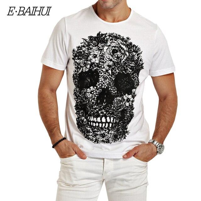 E-BAIHUI mens camisetas Crânio moda 3d t shirt homens Hip Hop T-shirt Dos Homens Casual tops tees Aptidão Skate Presa marcelo burlon Y049