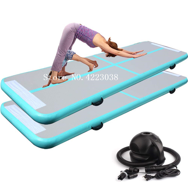 Free Shipping Free Pump, 2m Mintgreen Inflatable Air Track Gymnastics Inflatable Air Track Tumbling Mat Gym AirTrack For Sale