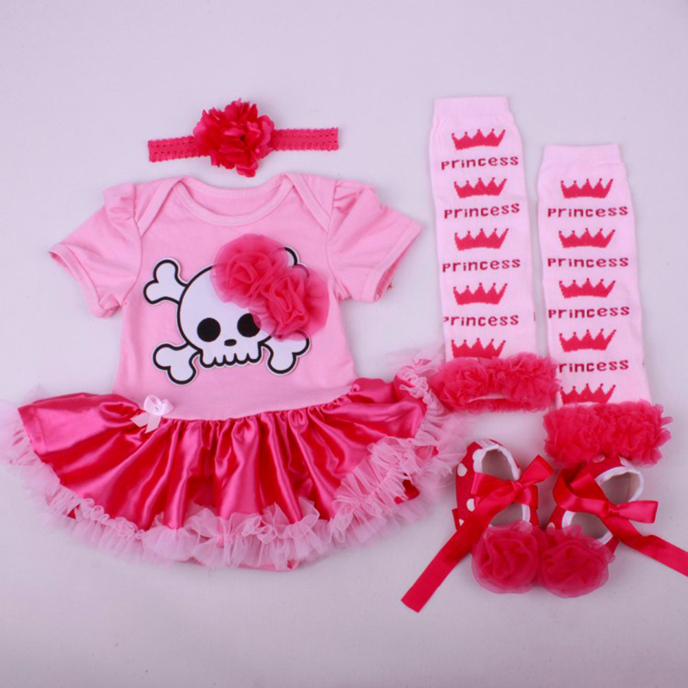 4pcs per set baby girls' peach halloween skull costume infant 1st