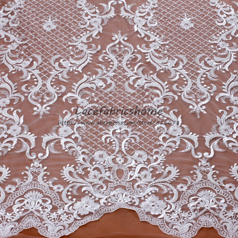 Off white high quality elegant heavy beaded embroidery lace fabric wedding dress evening dress lace fabric