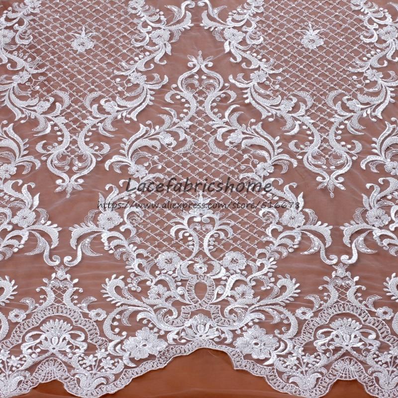 Off white hohe qualität elegante schweres wulstiges stickerei spitze stoff hochzeitskleid/abendkleid spitze stoff 130 cm eine hof-in Spitze aus Heim und Garten bei  Gruppe 1