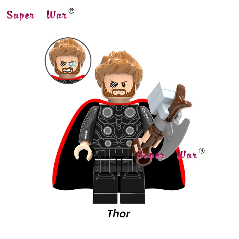 50pcs Marvel Avengers 3 Infinity War Thor Ragnarok Thanos Infinity Gauntlet Iron Man building block for