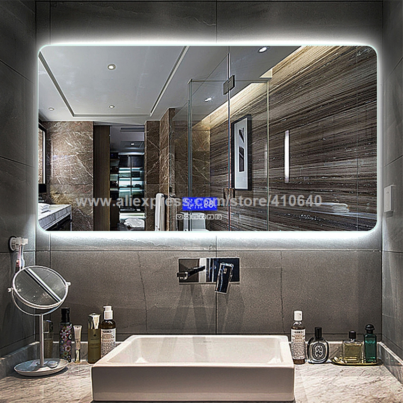 Bathroom Mirror Surface Time Temperature Date Display Music System With Radio And Bluetooth Play USB Port Touch Sensor Switch