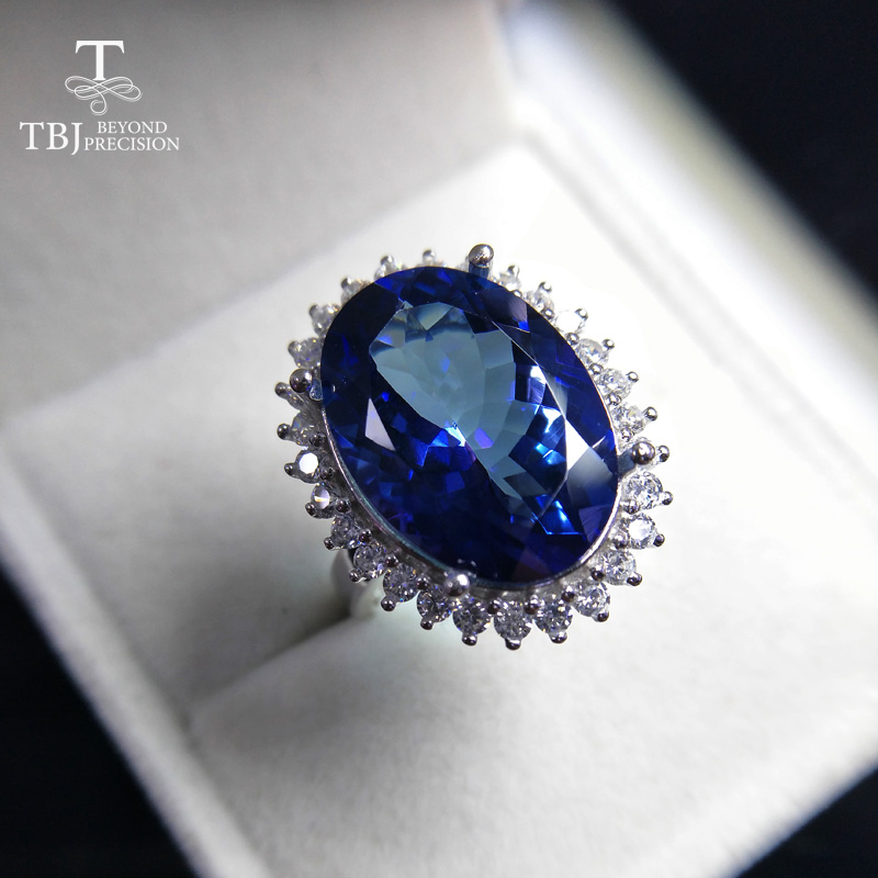 TBJ,Diana's ring for party Big 14ct coated blue topaz gemstone ring in 925 sterling silver gemstone jewelry for Lady with box