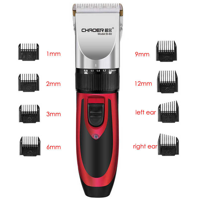Cordless Hair Clipper Professional Rechargeable Hair Trimmer for Men Electric Cutter Ceramic blade 1mm-12mm Nozzles