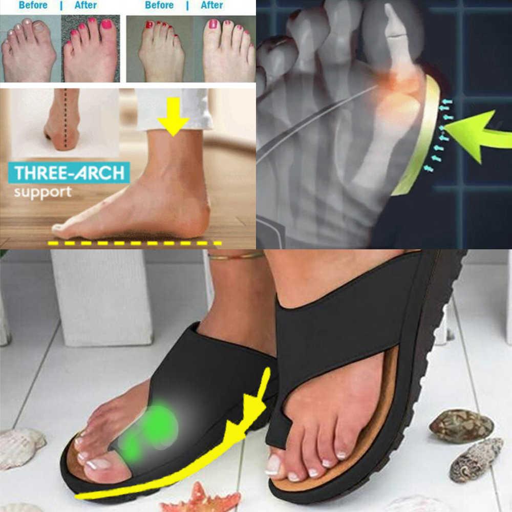 HEFLASHOR Nữ Da PU Giày Thoải Mái Đế Phẳng Nữ Da Ngẫu Ngón chân cái Chân Hiệu Chỉnh Sandal Chỉnh Hình Bunion Corrector