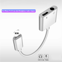 купить For iphone Lighting to 3.5MM Headphone Jack Charger Audio 2 in1 Adapter For iPhone 7 8 Plus XS X AUX Earphone Converter Adapters онлайн