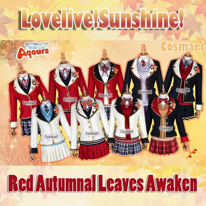 Anime Lovelive!Sunshine!Aqours Red Autumnal Leaves Awaken Uniform Dress Halloween Cosplay costumes New 2018 free ship