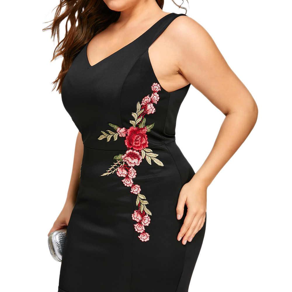 Wisalo вышивка розы Русалка плюс размер 5XL платье Макси сексуальное черное платье на бретелях с v-образным вырезом Длинные элегантные вечерние женские Вечернее платье
