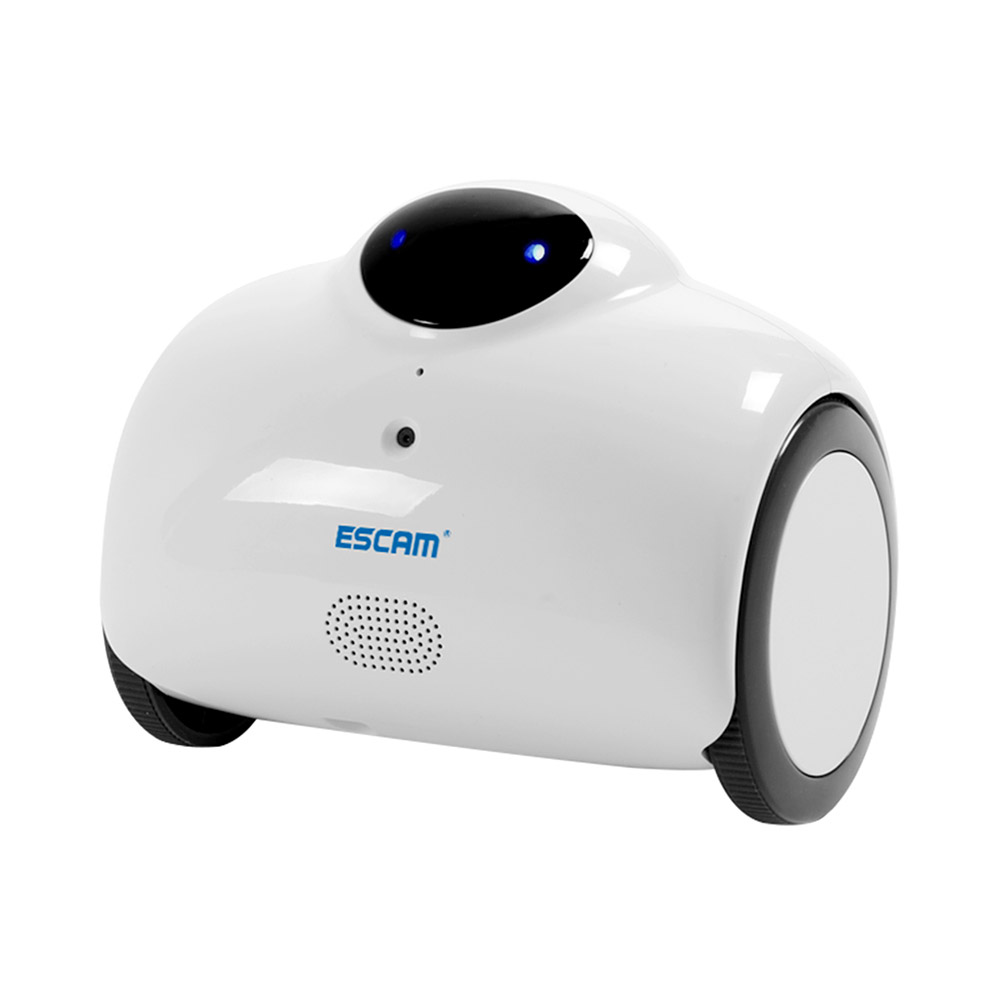 ESCAM Robot QN02 720P WiFi IP Camera Smart Web Cam Touch Interactive Move Laugh Automatically Charge Support Remote Video-White brand new car remote robot wifi camera support smart phone remote control wire charging automatic recharge ip secuirity camera