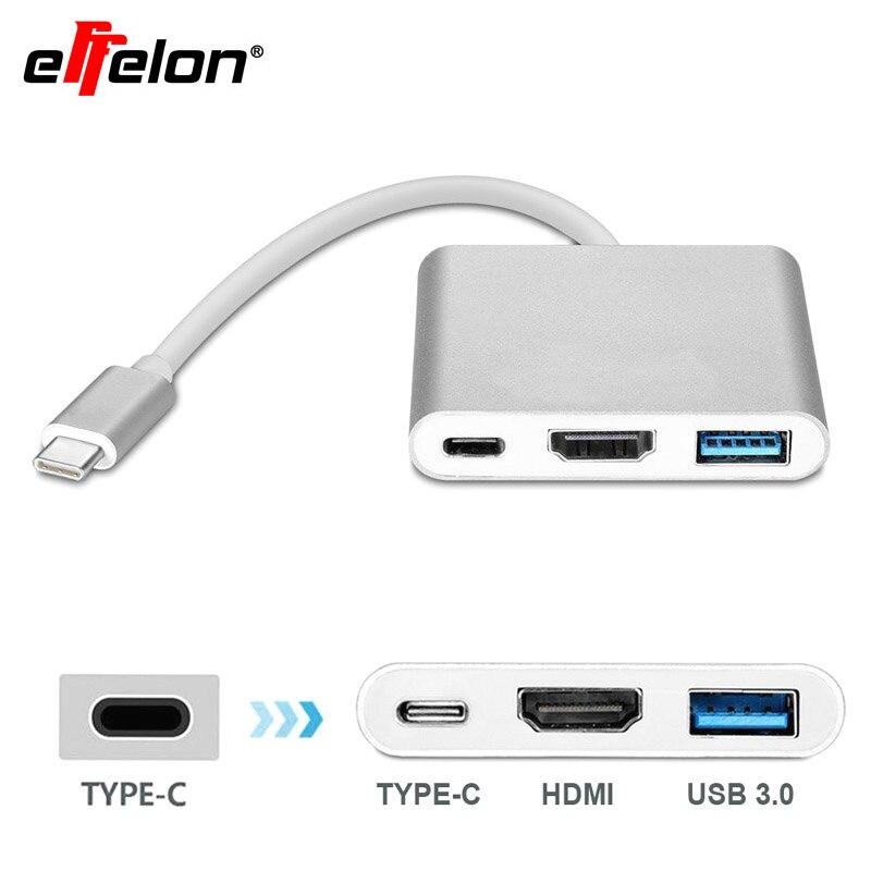 Effelon Type C USB 3.1 Hub USB C Cable to USB 3.0/HDMI 4k ...