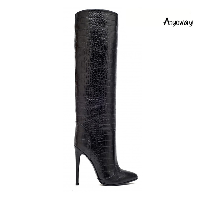 fe4f984f7e2 Aiyoway Fashion Women Shoes Pointed Toe High Heel Knee Boots Straight Shaft  Wide Ankle Slip On Winter Party Dress Shoes