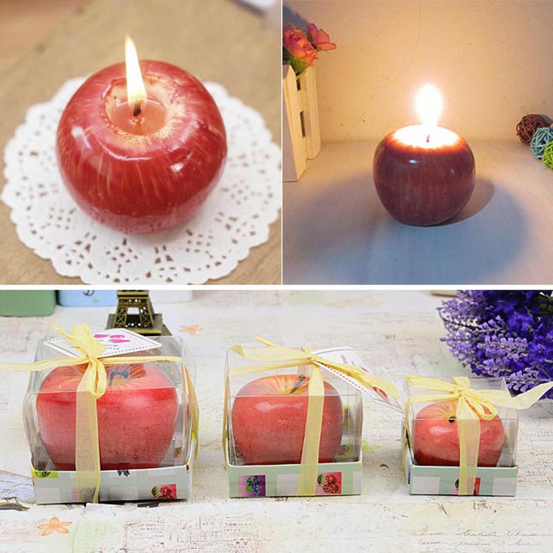 Home red apple shape fruit fruit scented candle gift for Apple fruit decoration