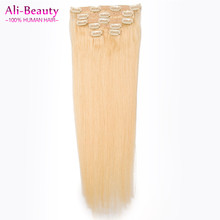 Hot Sell #613 Blond Highlighted Human Hair Extensions 6pcs Set Clip In Brazilian Virgin Hair Double Drawn Balayage Hair