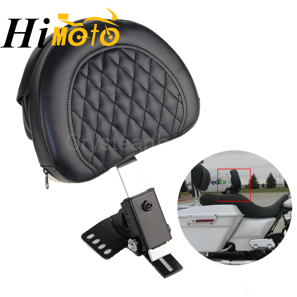 Adjustable Plug In Driver Rider Seat Backrest Cushion Pad Kit For 1997 2016 Harley Touring Electra