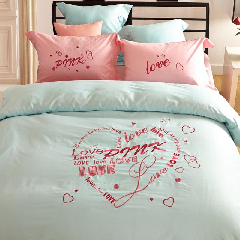 Letter VS Pink Bedding Set/Love Design 100% Cotton Duvet Cover/Bed Sheet/ Pillowcase/Comforter Victoria Queen King Size Beddings & Pillowcase Love Designs \u0026 BoldLoft Boldloft.com Bold Loft\