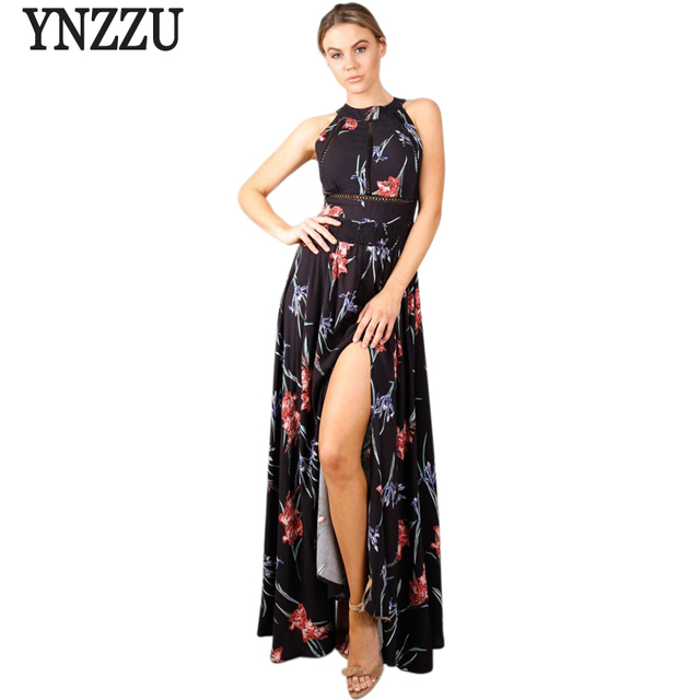 935154751e3 Lace Up Floral Black Women Long Summer Dress Halter 2017 Chic Backless  Evening Party Maxi Dress Hollow Out Sexy Dress Vestidos