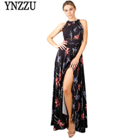 Lace Up Floral Black Women Long Summer Dress Halter 2017 Chic Backless Evening Party Maxi Dress Hollow Out Sexy Dress Vestidos