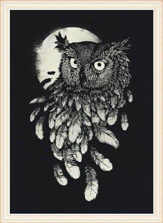 Online Shop 3d Diy Diamond Sketsa Burung Hantu 2016 Lukisan Sulaman