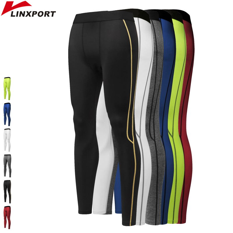 2018 Nuovi uomini Pantaloni sportivi a compressione Running Tights Dry Fit Base Layer Fitness Gym Man Wear Bodybuilding Leggings scarni S-XXL