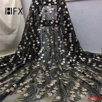 HFX African Lace Fabric Glitter Black/Gold Sequin Embroidery Net Lace Latest Bridal Evening Dress French Tulle Lace Fabric X2056